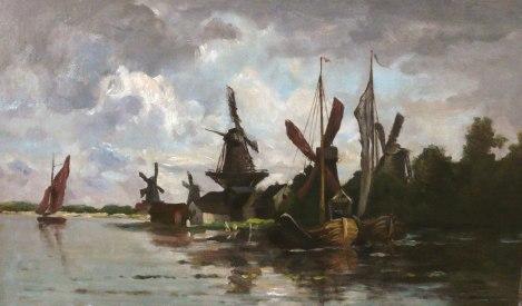 Moulin à Dordrecht Deburaux, C.F DAUBIGNY